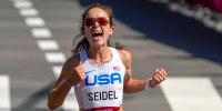 Image: Molly Seidel crosses finish line