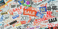 Sale signs, newspaper and flyers clippings