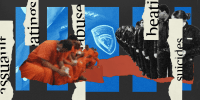 """Photo illustration: Cutout image of inmates sitting in a line, cutout image of a line of detention officers against blue boxes in the background that show the Harris County Sheriff's badge. Torn pieces of paper run though the image that read,\""""assault\"""", \""""b"""