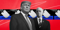 Illustration of former President Donald Trump and former Vice President Mike Pence with a row of hands casting ballots.