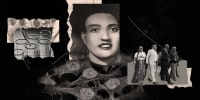 Photo illustration: Image of test tubes, microscope image of HeLa cells; portrait of Henrietta Lacks with the microscopic image of cells forming the shape of her dress and the image of people walking forward.