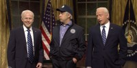 """Jason Sudeikis, center, plays a younger version of Joe Biden in the opening sketch of """"Saturday Night Live"""" on Oct. 23, 2021."""