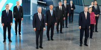 President Joe Biden and other NATO heads of the states and governments pose for a family photo during the NATO summit at the Alliance's headquarters, in Brussels, on June 14, 2021.