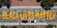 A Black Lives Matter mural was vandalized in Santa Cruz, Calif., on July 24, 2021.