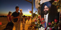 Image: A memorial for Balbir Singh Sodhi who was killed outside his gas station.