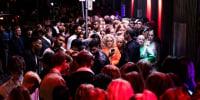 "Nightlife guests crowd in front of the ""Rumors"" Nightclub on Noerregade street in Copenhagen during the night between Sept. 2 and 3, 2021."