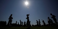 Image: Female soccer players take part in a training session