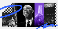 Photo illustration: Images of Kareem Abdul-Jabbar speaking and a hand holding a syringe and a vaccine vial with an image of a basketball game on either sides.