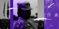 Photo collage: US Marines and Afghan National Army personnel holding their flags, a silhouette of a woman military officer and a close up of the medals of a servicewoman from the armed forces.