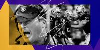 Illustration of former Raiders head coach Jon Gruden and Raiders players celebrating.