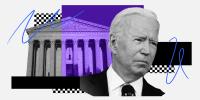 Photo illustration: Image of the Supreme Court of the United States and Joe Biden.