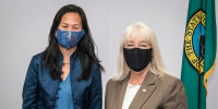 Image: Sen. Patty Murray, D-Wash., right, with Tana Lin in Washington on June 9, 2021.