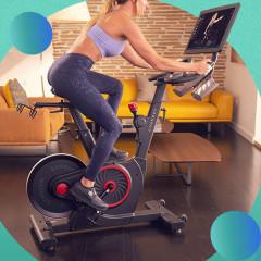 Woman riding an Echelon Smart Connect Bike EX5 and the Schwinn 170 Upright Bike