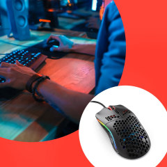 Gif of a gaming mouse and image of person playing with their gammon mouse