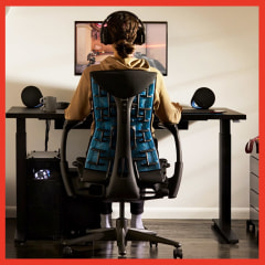 Illustration of person games while sitting in a Herman Miller X Logitech G Embody Gaming Chair