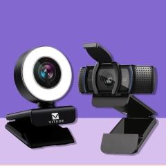 Illustration of Logitech C920s, Logitech Brio and Vitade 960A Webcam