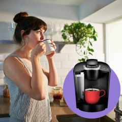 Illustration of a woman drinking from a coffee cup in the morning, a Keurig K-Classic Single Serve K-Cup Pod Coffee Maker, OXO 9-Cup Coffee Maker OXO 9-Cup Coffee Maker and a gif of a chemex