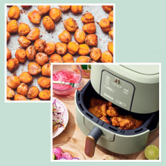 Illustration of Beautiful by Drew Barrymore Air Fryer going into the dishwasher and a lifestyle image of the Air Fryer with chicken wings frying. We compiled the best air fryers of 2021 that are all under $100. Check out our guide to affordable air fryers