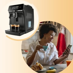 Woman with espresso cup sitting in her kitchen looking at phone and illustrated gif of different espresso machines. See the best affordable espresso machines to try in 2021. Shop espresso machines from Breville, Gaggia, Philips and more that won't break t