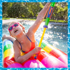Illustration of friends playing volleyball in the water and Little girl on a pool float spraying with a water cannon