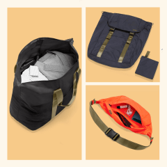 Illustration of the new Away packable bags and a family packing their trunk for a weekend away