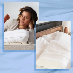Illustration of a Woman with a Birch Organic Pillow, a mother and son hugging on a Purple Harmony Pillow and a bed with Tuft & Needle Original Foam Pillow