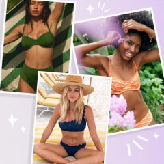 Three Woman wearing different swimsuits. the CUUP The Scoop Bikini Top, Aerie Underwire Bikini Top and the Miss The Past One Shoulder