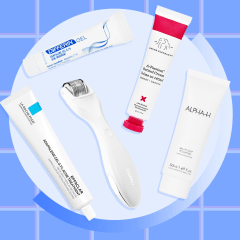 Illustration of 5 Best at-home acne scar treatments. Get rid of acne scars at home with these acne scar treatment products. The best acne scar treatments in 2021 include acne scar cream, acne scar gel and more