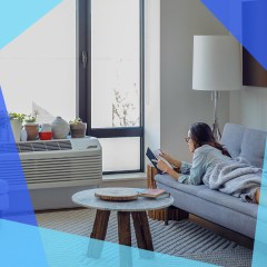 Woman reading book while lying on sofa at home in front of her AC and a hand controlling AC on their phone. The best smart air conditioners allow you to control temperature over Wi-Fi, remotely using apps, or with voice assistants. Shop Honeywell, LG and