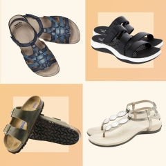 Illustration of four arch support sandals and a Woman hiking in sandals/
