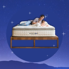 Illustration of an eco-friendly mattress with a mother and child on it