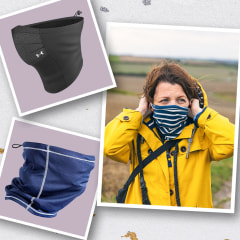 Illustration of a three different people wearing different styles and colors of neck gaiter, and two neck gaiters. While neck gaiters are not the most effective face coverings, experts say gaiters can be used in a pinch in outdoor settings. Shop neck gait