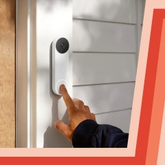 Illustration of a hand ringing the new Google Nest Doorbell on someones door frame and the new Google Nest Camera in a living room