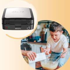 Mother and son making waffles in kitchen and image of a Krups waffle maker