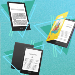 Illustration of three new Amazon Kindle Paperwhite, Kindle Paperwhite Signature Edition and the Kindle Paperwhite for kids