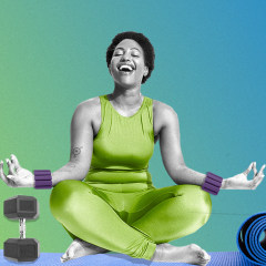 Illustration of a Woman sitting on a yoga mat with Bala weights on her wrists and a weight by her legs, and a close-up view of the NordicTrack S22i Studio Cycle bike