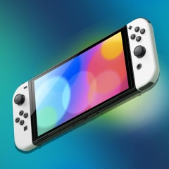 Illustration of the new Nintendo Switch OLED and different parts that come with models