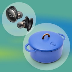 Illustration of the new Anker headphones in black, bar cart from Bed Bath and Beyond, blanket and the new dutch oven from Great Jones, in blue