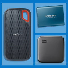 Illustration of three different portable hard drives and a man plugging in a hard drive into a computer