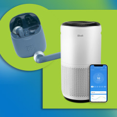 Illustration of the LEVOIT 400s Core Air Purifier, BalanceFrom 50-Pound Dumbbell Set, JBL Wireless Earbuds in blue and NutriBullet Blender Combo