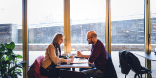 Image::Image: Mette Brathen, teacher, and her partner Henning Velo, an engineer, both 45, have a late breakfast in a caf? in the working class T?yen neighborhood.|for NBC News