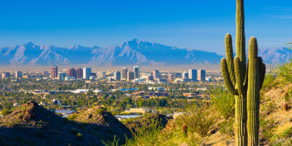 Image::Phoenix skyline and cactus|Getty Images stock