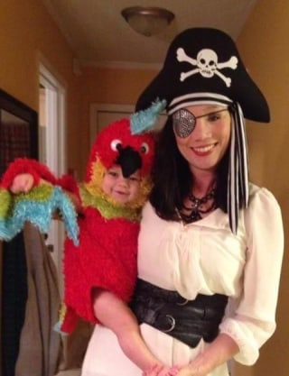 ahoy matey haley willis little donned pirate garb and dressed little eli as her parrot haley willis little