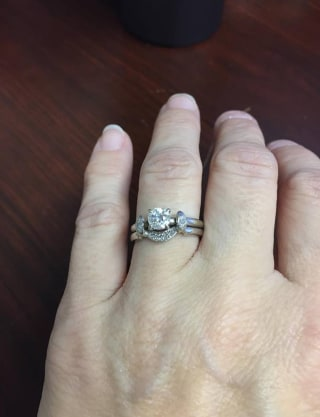 Katie Riebel Wears Her Pas Redesigned Engagement Ring And Wedding Band Courtesy