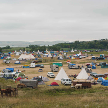 Image: The Seven Council camp, one of three encampments that have grown on the banks of the Cannon Ball River near the Standing Rock Sioux reservation in Cannon Ball, North Dakota