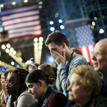 Image: Supporters of Democratic U.S. presidential nominee Hillary Clinton watch state by state returns at her election night rally in New York