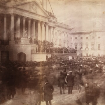 Image: President James Buchanan at the east front of the U.S. Capitol during his March 1857 inauguration, the first inauguration known to have been photographed.