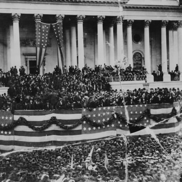 Image: President Ulysses S. Grant delivers his inaugural address on the east portico of the U.S. Capitol on March 4, 1873.