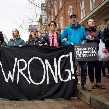 Image: Protesters demonstrate near the parade route where President Trump will walk after taking the oath of office in Washington, D.C. on Jan. 20.