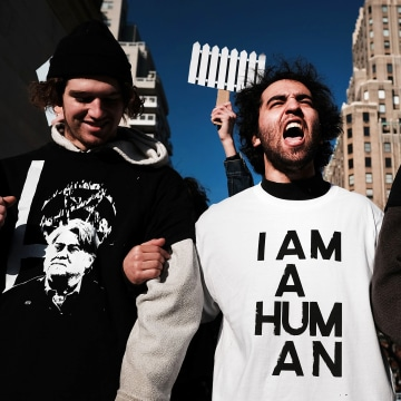 Image: Protesters critical of President Donald Trump attend an afternoon rally to show solidarity with a general strike in Washington Square Park on Feb.17, 2017 in New York City.